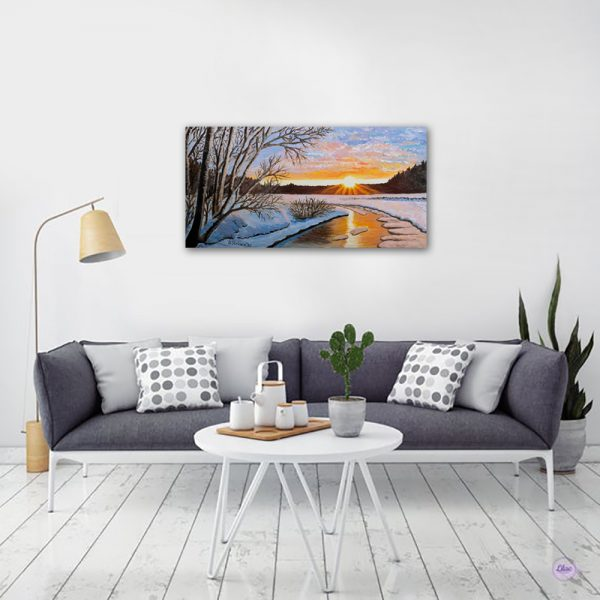 winter_sunset_Painting_oil_realistic
