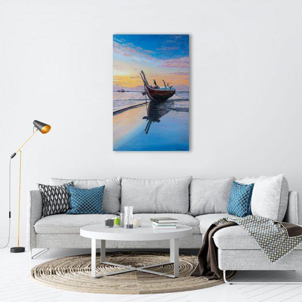 Kartina_Lodka_po_zalez-morski peizazh_maslo_60x40cm-